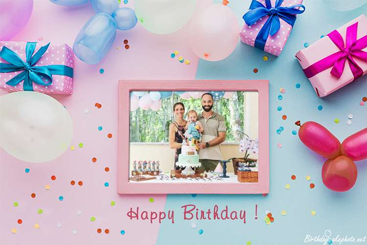 Lovely Birthday Photo Frame With Your Photo