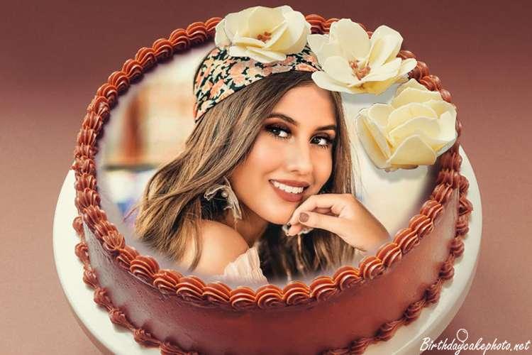 Sweet Chocolate Birthday Cake With Photo Editing