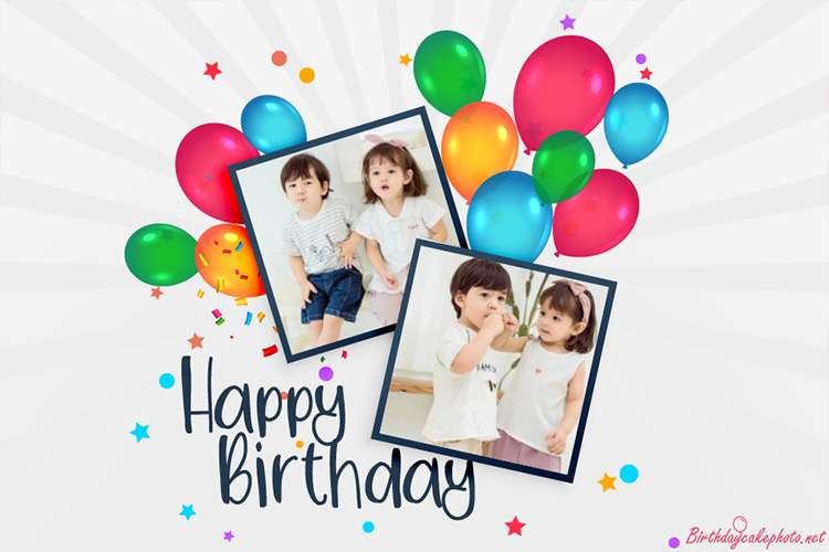 Happy Birthday Card With Double Photo Frames