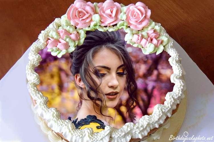Fabulous Make Happy Birthday Flower Cake With Photo Edit Funny Birthday Cards Online Barepcheapnameinfo