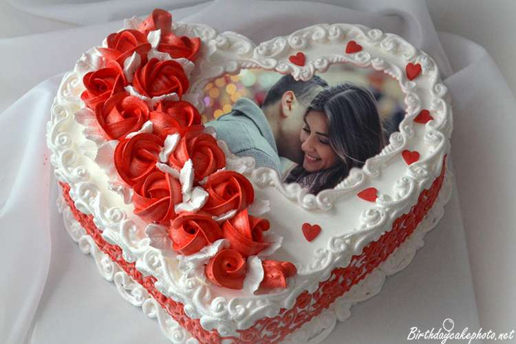 Heart Love Birthday Cake With Photo Online