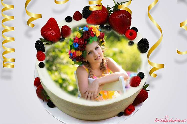 Happy Fruit Birthday Cakes With Photo Edit