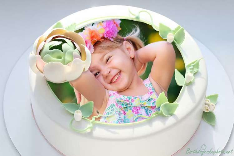 Print Photo On Flower Decorated Vanilla Birthday Cake