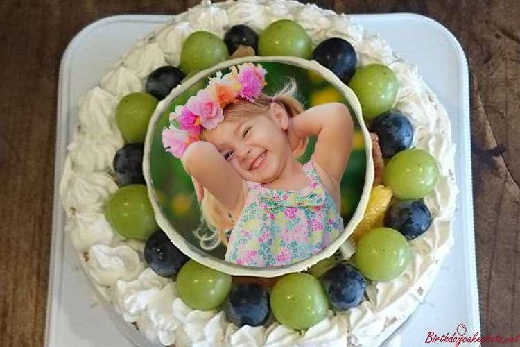 Fresh Fruit Birthday Cake Images With Photo Edit