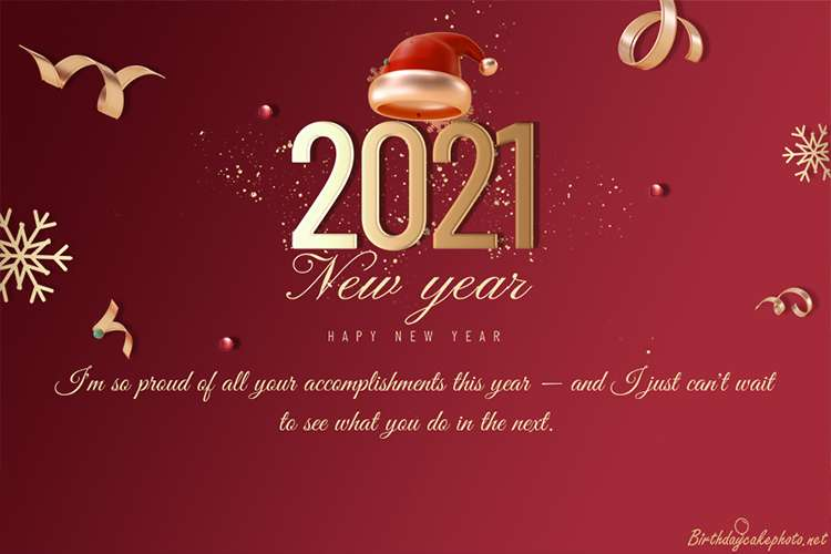 Happy New Year 2021 Celebration Card With Red Background