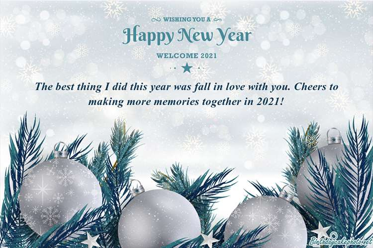 Write Wishes On New Year Card 2021 With Silver Globe Background