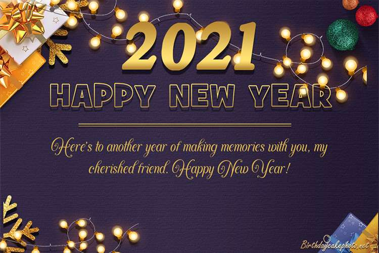 Sparkling New year Greeting Card For 2021