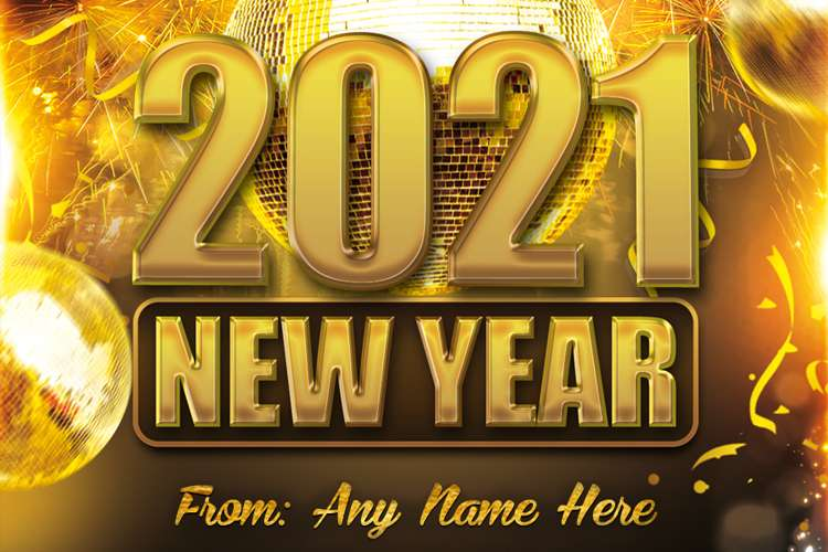Golden New Year 2021 Wishes Card With Name Edit