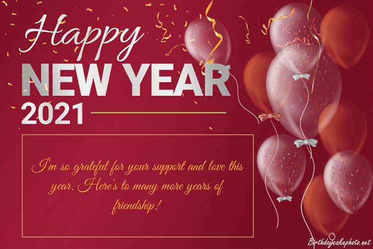 Free Happy New Year 2021 Greeting Card With Balloons