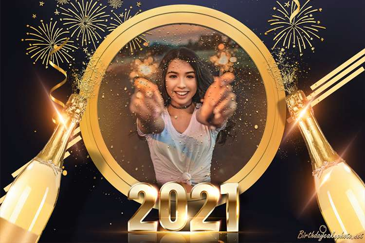 Golden Happy New Year 2021 Wishes  With Photo Frames